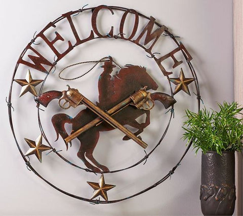 Metal Welcome Horse/Guns Wall Decor