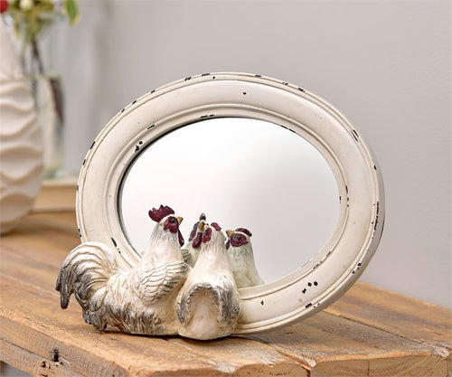 Rooster Design Table Mirror