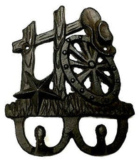Western Cast Iron Wall Hook Fence/Hat/Wagon Wheel