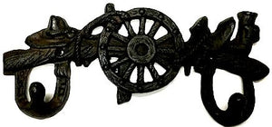 Western Cast Iron 2-Wall Hook Boots/Hat/Wagon Wheel