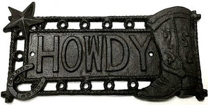 Star & Boot Howdy Cast Iron Plaque