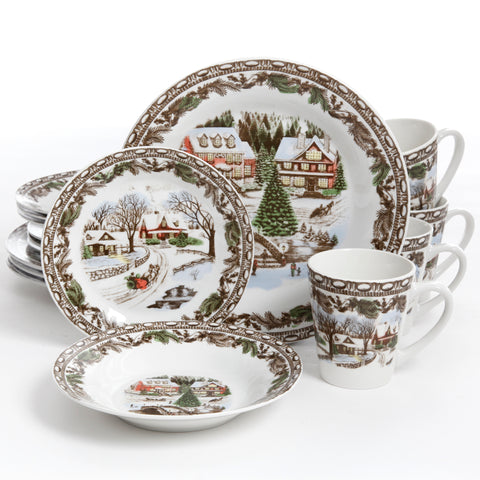 """Christmas Toile"" 16-Piece Dinnerware Set"