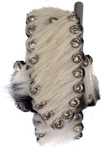 Western Black & White Hair-On Cell Phone Holder with CZ Stones
