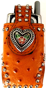 Western Tan Ostrich Cell Phone Holder with Red & Green Floral Heart Concho