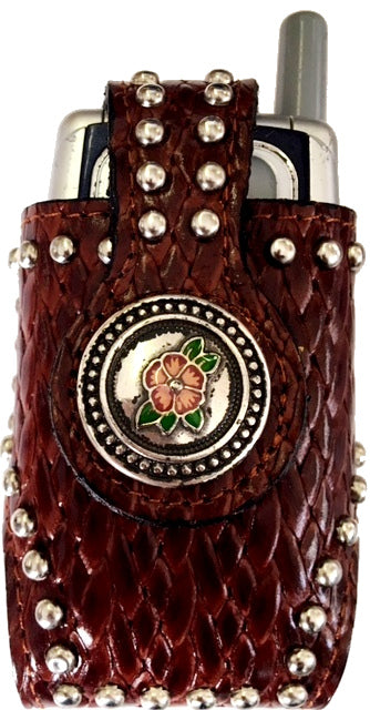 Western Snake Skin Burgundy Cell Phone Holder with Red & Green Floral Concho