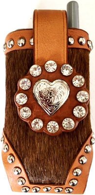Western Brown Hair-On Cell Phone Holder with Silver Heart Concho