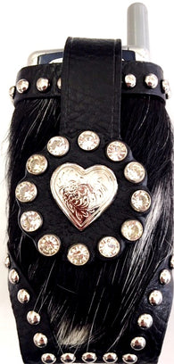 Western Black Hair-On Cell Phone Holder with Silver Heart Concho