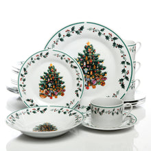 "Load image into Gallery viewer, ""Tree Trimming"" 20 Piece Christmas Dinnerware Set"