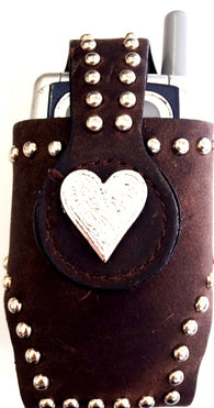 Western Brown Leather Cell Phone Holder with Silver Heart Concho