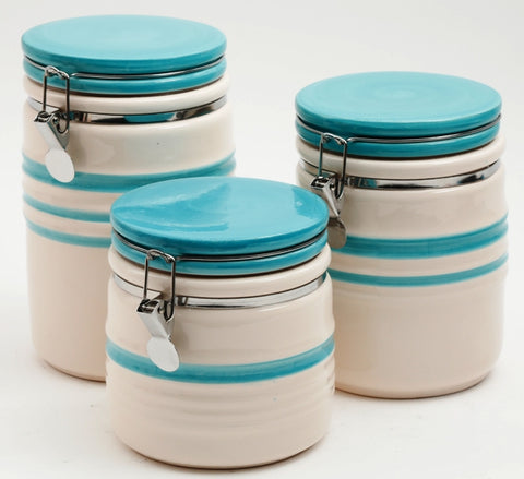 Hollydale 3 Pc Canister Set, Teal/Linen