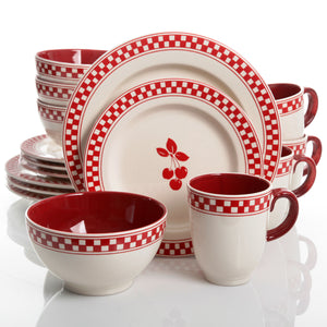 Cherry Diner 16-Piece Dinnerware Set