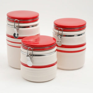 Hollydale 3-Piece Canister Set  Red & Linen