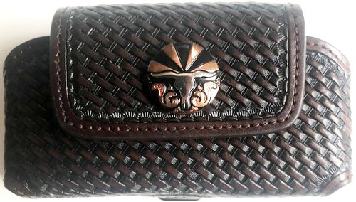 Western Brown Basketweave Cell Phone Holder with Rising Longhorn Concho for Phones up to 5-1/4
