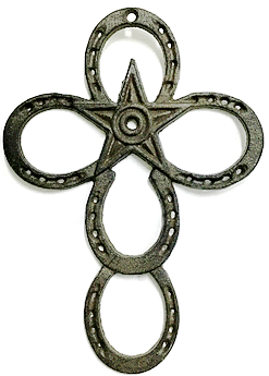 Cast Iron Horseshoe & Star Cross