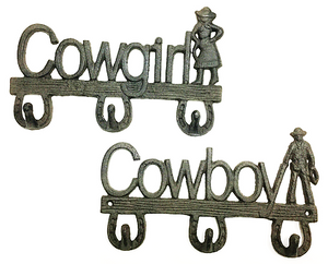 Cowboy and Cowgirl Cast Iron Coat Hook - Set of 2