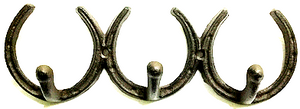 Rustic Style Cast Iron Three Horseshoes with Three Hooks