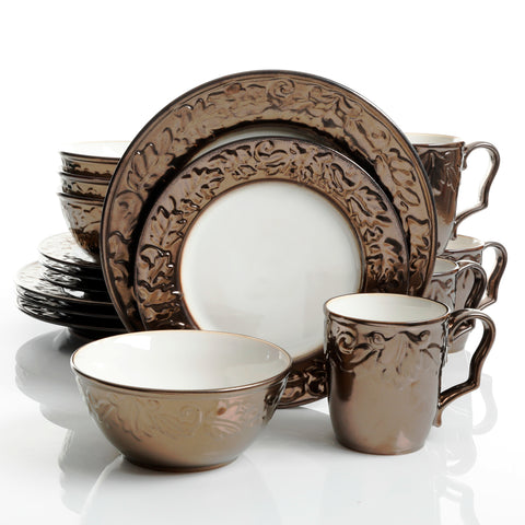 Bronze Metallic Look Embossed 16-Piece Dinnerware Set
