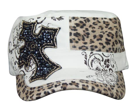 Cheetah Beaded Cross White Cap