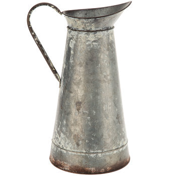 Rustic Galvanized Metal Pitcher