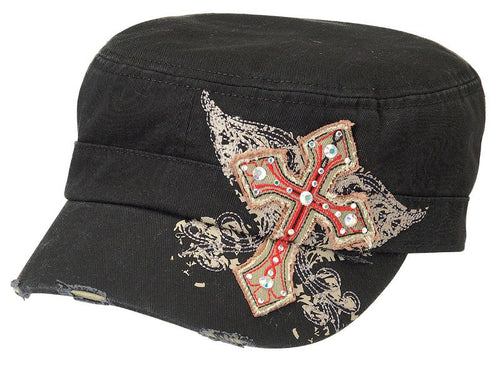 Ladies' Embroidered Wings & Cross Caps (Black or Brown)