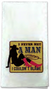 """Man to Blame"" Western Flour Sack Towel"
