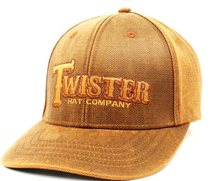 Twister Brown Oilskin Cap with Snap Back