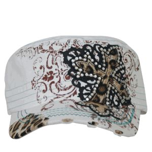 Cadet Cross Cap - White, Black & Leopard