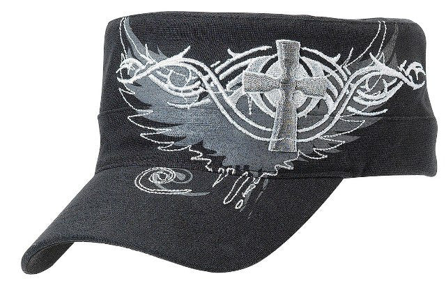Ladies' Embroidered Cross & Wing Caps