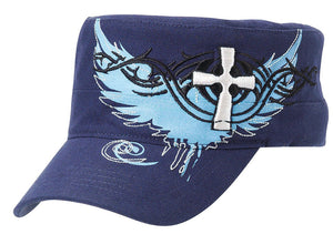 Ladies' Embroidered Cross & Wing Caps - Choose From Black or Navy!