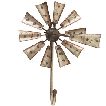 Windmill Metal Wall Decor With Hook