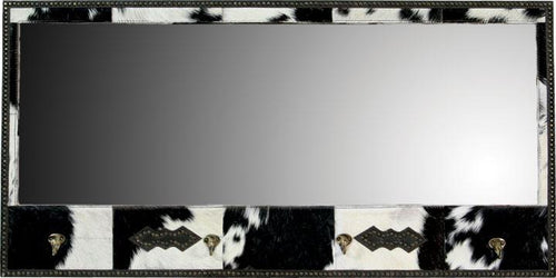 Cowhide Lodge Mirror with Hooks - 20