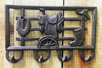Cast Iron Saddle Four Coat Hook