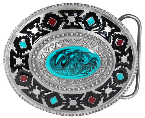 Southwest Blue Stone Belt Buckle - Made in USA