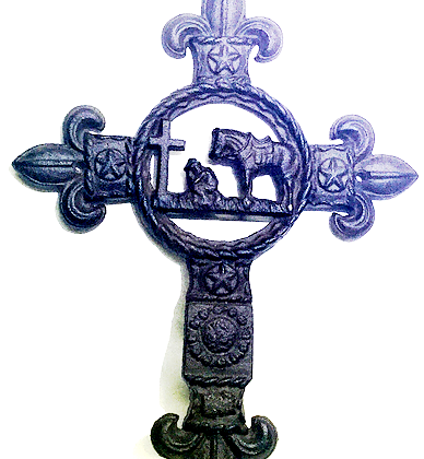Cast Iron Praying Cowboy Cross