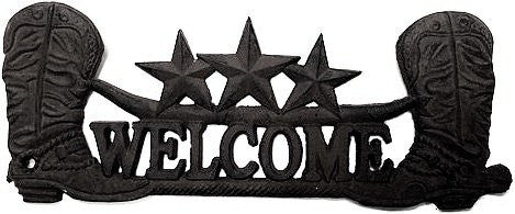 Welcome Boot Cast Iron Wall Plaque
