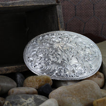 Load image into Gallery viewer, Western Oval Silver Engraved Belt Buckle
