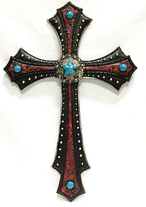 Large Red Wall Cross with Turquoise Stars