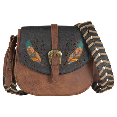 Catchfly Crossbody Purse - Dark Chocolate with Feathers
