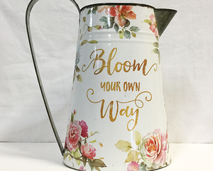 """Bloom Your Own Way"" Tin Water Pitcher"