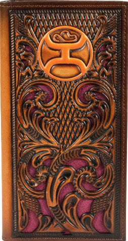 Hooey Rodeo Wallet with Orange Logo and Maroon Inlay