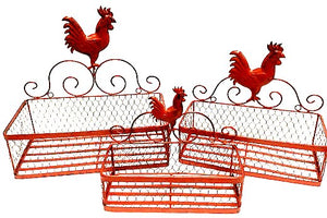 Woven Wire Rooster Red Baskets - Set of 3