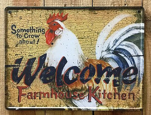 """Rooster Welcome""  Tin Sign"