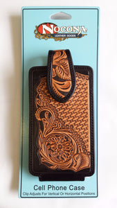 Western Tooled Leather Cell Phone Holder - Fits iPhone 8 Plus