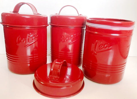 Vintage Metal Canisters - 3 Piece Set - Red