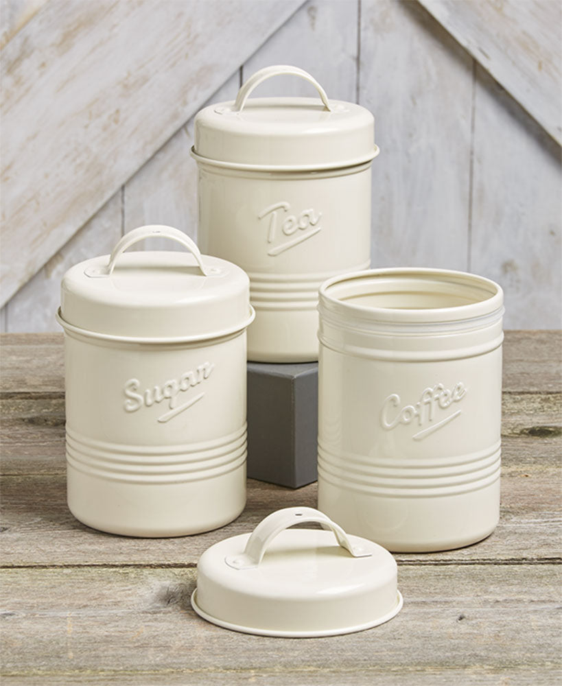 Vintage Metal Canisters - 3 Piece Set - Off White