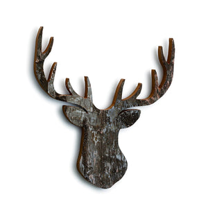 Wood Stag Head Silhouette Wall Art