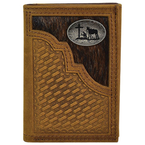 Justin Men's Tri-Fold Wallet with Hair-On and Praying Cowboy Concho