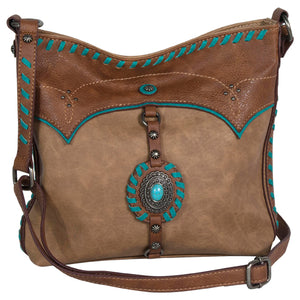 Justin Crossbody with Concho and Turquoise Stitching