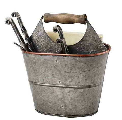 Tin Utensil Caddy with Wood Handle