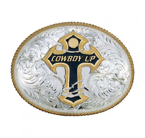 """Cowboy Up"" Western Belt Buckle"